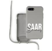 Coverzs Silicone case met koord iPhone 7/8 Plus (grijs) - Name + name