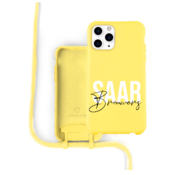Coverzs Silicone case met koord iPhone 12 Pro Max (Geel)  - Name + Name