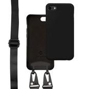 Coverzs Silicone case met dik koord iPhone 7/8/SE2020 (zwart)