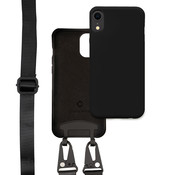 Coverzs Silicone case met dik koord iPhone Xr (zwart)