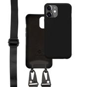 Coverzs Silicone case met dik koord iPhone 12/12 Pro (Zwart)