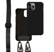 Coverzs Silicone case met dik koord iPhone 12 Pro Max (Zwart)