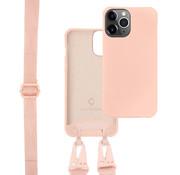 Coverzs Silicone case met dik koord iPhone 12 Pro Max (Roze)