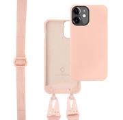 Coverzs Silicone case met dik koord iPhone 12/12 Pro (roze)