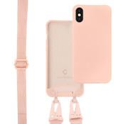 Coverzs Silicone case met dik koord iPhone X/Xs (roze)