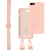 Coverzs Silicone case met dik koord iPhone 7/8/SE2020 (roze)