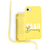 Coverzs Silicone case met koord iPhone 7/8/SE2020 (Geel)   - Name + name