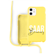 Coverzs Silicone case met koord iPhone 12 / 12 Pro (Geel)  - Name + name