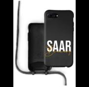 Coverzs Silicone case met koord iPhone 7/8 Plus (zwart) - Name + name