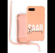 Coverzs Silicone case met koord iPhone 7/8 Plus (oranje) - Name + name