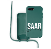 Coverzs Silicone case met koord iPhone 7/8 Plus (donkergroen) - Name + name