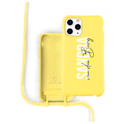 Coverzs Silicone case met koord iPhone 12 Pro Max (Geel)  - Name + Name - Verticaal