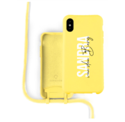 Coverzs Silicone case met koord iPhone X / Xs (Geel)  - Name + Name - Verticaal