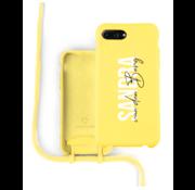 Coverzs Silicone case met koord iPhone 7/8 Plus (Geel) - Name + name - Verticaal