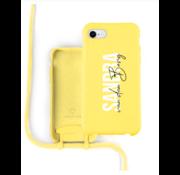 Coverzs Silicone case met koord iPhone 7/8/SE2020 (Geel)   - Name + name - Verticaal