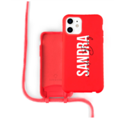 Coverzs Silicone case met koord iPhone 12 / 12 Pro (Rood)   - Name + Name - Verticaal