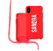 Coverzs Silicone case met koord iPhone X / Xs (Rood) - Name + Name - Verticaal