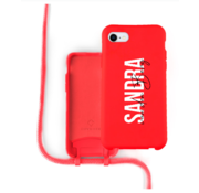 Coverzs Silicone case met koord iPhone 7/8/SE2020 (Rood)   - Name + Name - Verticaal