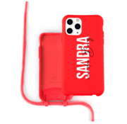 Coverzs Silicone case met koord iPhone 12 Pro Max (Rood)   - Name + Name - Verticaal