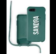 Coverzs Silicone case met koord iPhone 7/8 Plus (donkergroen) - Name + name - Verticaal
