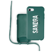 Coverzs Silicone case met koord iPhone 7/8/SE2020 (donkergroen) -  Name + Name - Verticaal