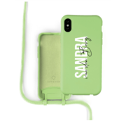 Coverzs Silicone case met koord iPhone X / Xs (lichtgroen) - Name + Name - Verticaal