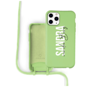 Coverzs Silicone case met koord iPhone 11 Pro Max (lichtgroen) - Name + Name - Verticaal