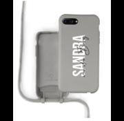Coverzs Silicone case met koord iPhone 7/8 Plus (grijs) - Name + name - Verticaal