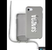 Coverzs Silicone case met koord iPhone 7/8/SE2020 (grijs) - Name + Name - Verticaal