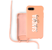 Coverzs Silicone case met koord iPhone 7/8 Plus (oranje) - Name + name - Verticaal