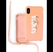 Coverzs Silicone case met koord iPhone X / Xs (oranje) - Name + Name - Verticaal