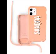 Coverzs Silicone case met koord iPhone 11 (oranje) - Name + Name - Verticaal