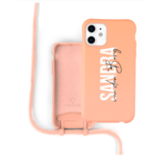 Coverzs Silicone case met koord iPhone 12 / 12 Pro (oranje) - Name + Name - Verticaal