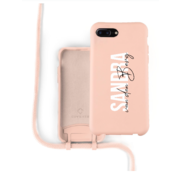 Coverzs Silicone case met koord iPhone 7/8 Plus (roze) - Name + name - Verticaal