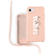 Coverzs Silicone case met koord iPhone 7/8/SE2020 (roze) - Name + Name - Verticaal