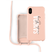 Coverzs Silicone case met koord iPhone X / Xs (roze) - Name + Name - Verticaal