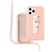 Coverzs Silicone case met koord iPhone 11 Pro Max (roze) - Name + Name - Verticaal
