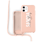 Coverzs Silicone case met koord iPhone 12 / 12 Pro (roze) - Name + Name - Verticaal
