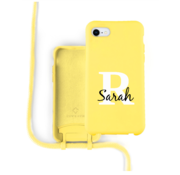 Coverzs Silicone case met koord iPhone 7/8/SE2020 (Geel)   - Initial + name