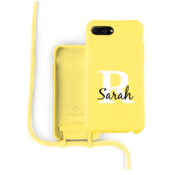 Coverzs Silicone case met koord iPhone 7/8 Plus (Geel) - Initial + name