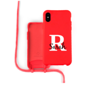 Coverzs Silicone case met koord iPhone X / Xs (Rood) - Initial + Name