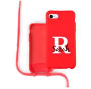 Coverzs Silicone case met koord iPhone 7/8/SE2020 (Rood)   - Initial + Name