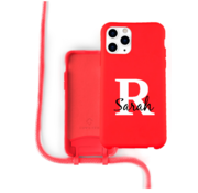 Coverzs Silicone case met koord iPhone 11 Pro Max (Rood) - Initial + Name