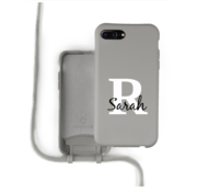 Coverzs Silicone case met koord iPhone 7/8 Plus (grijs) - Initial + name