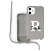 Coverzs Silicone case met koord iPhone 11 (grijs) - Initial + Name