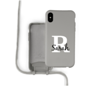 Coverzs Silicone case met koord iPhone X / Xs (grijs) - Initial + Name