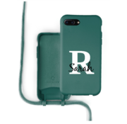 Coverzs Silicone case met koord iPhone 7/8 Plus (donkergroen) - Initial + name