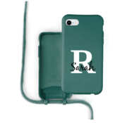 Coverzs Silicone case met koord iPhone 7/8/SE2020 (donkergroen) -  Initial + Name