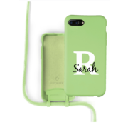 Coverzs Silicone case met koord iPhone 7/8 Plus (lichtgroen) - Initial + name