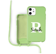 Coverzs Silicone case met koord iPhone 12 / 12 Pro (lichtgroen) - Initial + Name